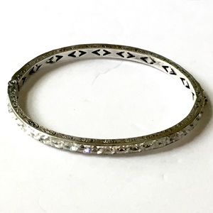 1920s Art Deco Sterling Silver Engraved Bracelet